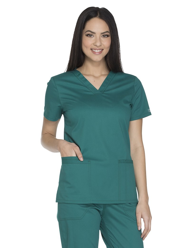 Cherokee Core Stretch by Workwear Women's V-Neck Solid Scrub Top XXXXX-Large Hunter