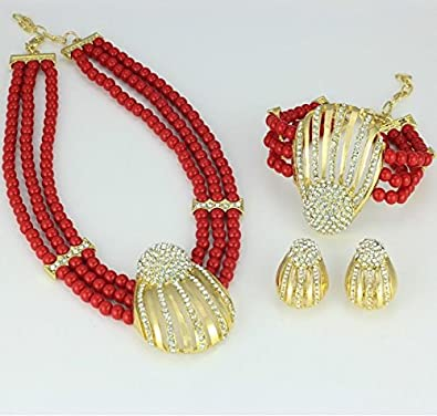 PrestigeApplause - Jewels UK 3 Layers Red Beads Jewellery Set with Necklace  Earing Bracelet   Ring 15de88202870