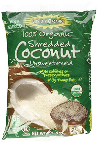 Let's Do Organic Shredded, Unsweetened Coconut, 8-Ounce Packages (Pack of 3)