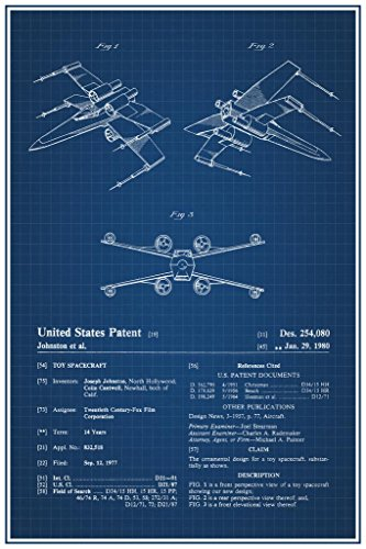 Star Official Poster Wars - Laminated Space Fighter Toy 1980 Official Patent Blueprint Sign Poster 12x18 inch