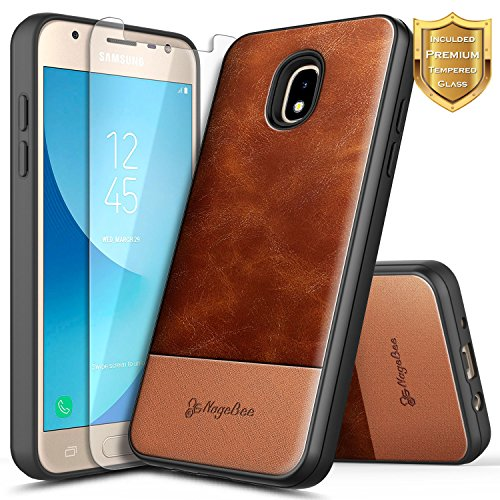 Galaxy J7 2018 Case, J7 Refine/J7 Crown/J7 Star/J7 TOP J7 V 2nd Gen/J7 Aura with Tempered Glass Screen Protector, NageBee Premium Cowhide Leather Heavy Duty Shockproof Hybrid Combo Rugged Case -Brown