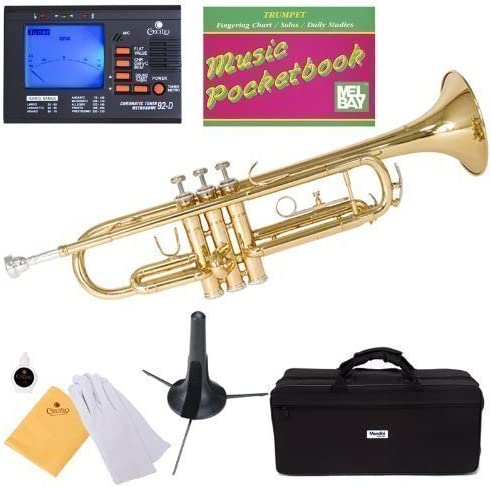 B002474FO4 Mendini MTT-L Gold Lacquer Brass Bb Trumpet + Tuner, Case, Stand, Mouthpiece, Pocketbook & More 51lrWrewXAL