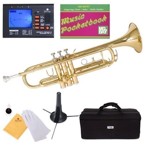 Mendini MTT-L Gold Lacquer Brass Bb Trumpet + Tuner, Case, Stand, Mouthpiece, Pocketbook & More by Mendini