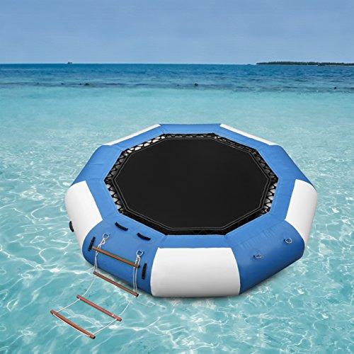 water Trampoline Series Splash Padded Water Bouncer Inflatable Bouncer Jump Water Trampoline Bounce Swim Platform for Water Sports (13Ft, Blue&White) (Water Sports Inflatable Trampoline)