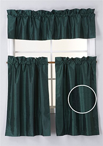 Hunter Green Window - Elegant Home Collection 3 Piece Solid Color Faux Silk Blackout Kitchen Window Curtain Set with Tiers and Valance Solid Color Lined Thermal Blackout Drape Window Treatment K3 (Hunter Green)
