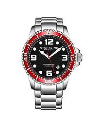 Stuhrling Original Reloj de buceo analógico deportivo de acero inoxidable de cuarzo suizo para hombre, resistente al agua 200 metros, esfera negra, buceador acuático, Rojo