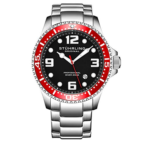 Stuhrling Original Mens Swiss Quartz Stainless Steel Sport Analog Dive Watch, Water Resistant 200 Meters, Red Bezel Black Dial, Screw Down Crown, Aqua-Diver 44mm 395XL Mens Watches Collection
