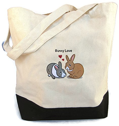 (Wheeky Pets Rabbit (Bunny Love), Embroidered Natural Cotton Canvas Eco-Tote Reusable Shopping Bag, Size Large, Black and White)
