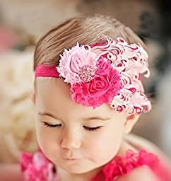 Baby Feather Flower Headband 9 packed in assorted color