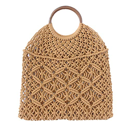 Handbag Net - CHIC DIARY Hand-woven Straw Hobo Bag for Women Girls Fishing Net Handbag Summer Beach Shopping Shoulder Bags (Khaki-Round Handle)