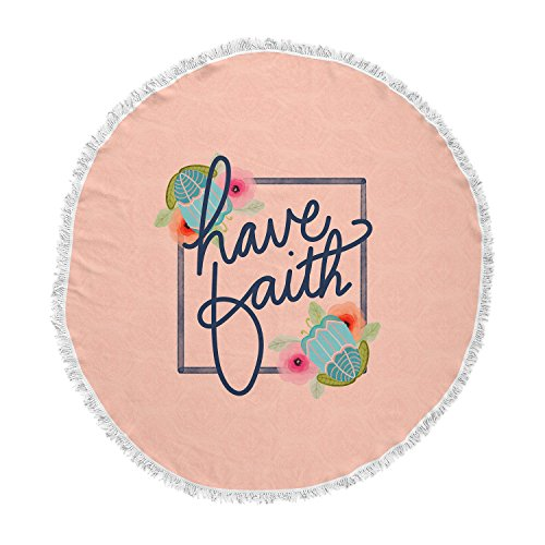KESS InHouse Noonday Designhave Faith Coral Teal Typography Round Beach Towel Blanket by Kess InHouse