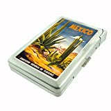 Perfection In Style Metal Cigarette Case with Built In Lighter Vintage Travel Posters Design 013