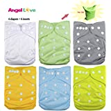 Baby Cloth Diaper, Angel Love Baby Reusable Washable All in one Size Cloth Pocket Diapers, Adjustable Snap, 6 Pcs + 6 Inserts, Gift Set, 1ZH01 (Neutral Color)