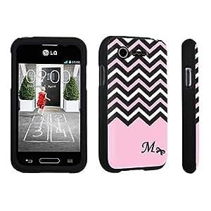 Zheng case LG L34C Optimus Fuel / LG Optimus Zone 2 VS415PP Hard Case Black - (Black Pink White Chevron M)
