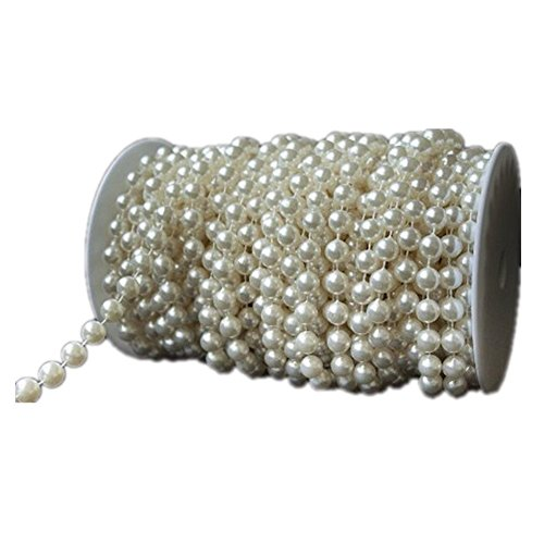 eBoTrade 99 ft Crystal Like Beads by the roll - Wedding Decorations Made in US (Ivory Pearls 99FT) (Pearl Beads Bulk)