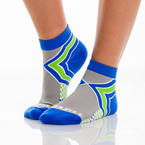 Sox 17' Stocking (NEWZILL Low-Cut Compression Socks Unisex Running Socks With Embedded Frequency Technology For Heel, Ankle & Arch Support, Improves Stamina Endurance & Balance (Large, Royal Blue/Neon Green))