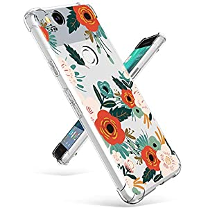 GVIEWIN Compatible for Google Pixel 2 Case, Flower Pattern Design with Shockproof Corner, Ultra Slim TPU Bumper…
