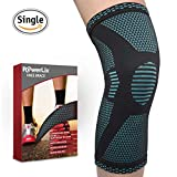 PowerLix Athletics Knee Compression Sleeve Support For Running, Jogging, Sports, Basketball, Joint Pain Relief, Arthritis And Injury Recovery, Breathable Knee Brace, Improved Circulation - Single Wrap