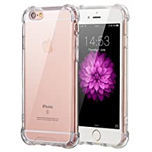 iPhone 6/6S Clear Case, Elzo Apple iPhone 6/6S Transparent PC Back Protector Cover with Full-edge Soft Air-cushioned TPU Shock-Absorption Bumper and Anti-slip Hard Shell (Transparent Bumper)