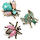 Sweet Romance Vintage Gold Bee Bug Insect Brooch Pins