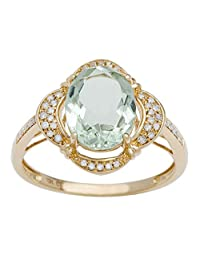 Instagems 10k Yellow Gold 2.0ct Oval Green Amethyst and Halo Diamond Ring (1/7 cttw)