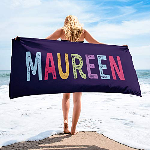 Personalized Beach Towels for Women Kids Girls Boys Adults Men. Custom Name Beach Towel with Name Mermaid Flamingo Pineapple Shark Honeymoon Basketball Baseball Summer Gifts (Name, 32