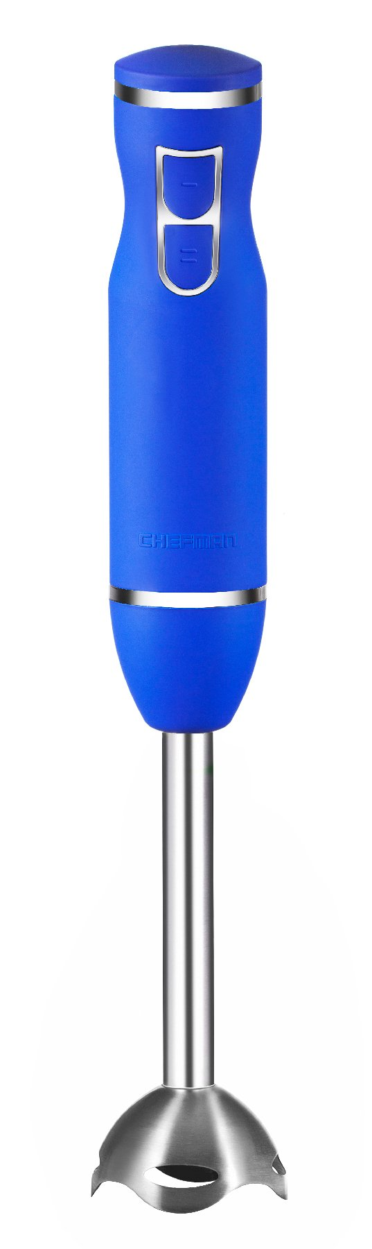 Chefman Immersion Hand Blender Includes Stainless Steel Stick Blender and Blades, Powerful 2-Speed Control One Hand Mixer, Soft Touch Grip, Royal Blue
