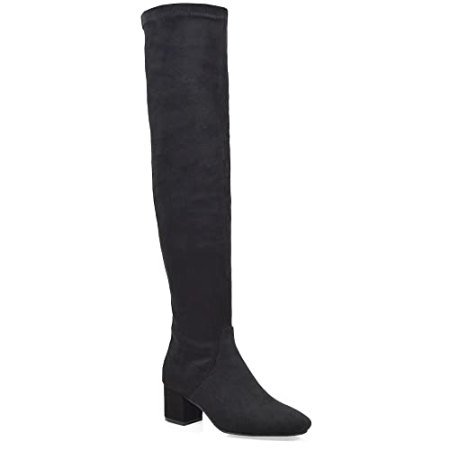 d9c6ac60831 ESSEX GLAM Womens Over The Knee Low Heel Black Faux Suede Stretch Thigh  High Boots 5