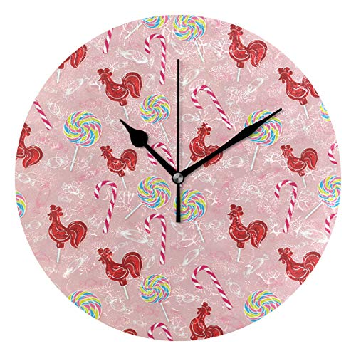 Pink Funny Rooster Candy Round Clock Non Ticking Excellent Accurate Sweep Movement Glass Cover Modern Decorative Kitchen Living Room Bathroom Bedroom Office (Rooster Candy Glass)