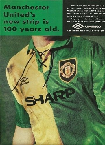 sports shoes c7801 45977 90 Minutes Manchester United Newton Heath Umbro kit advert ...