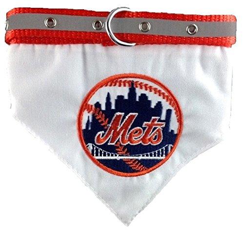 New York Mets Dog Collar - Pets First MLB Bandana - New York Mets Dog Bandana with Reflective & Adjustable Dog Collar, Medium