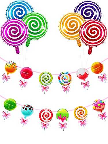 2 Pieces Lollipop Banner Candyland Banner Rainbow Candy Banner with 6 Pieces Sweet Candy Balloons Candy Theme Birthday Party Baby Shower Decorations for Girls, Kids, Home, Classroom, Bedroom