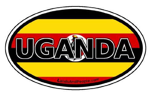 Uganda Africa Flag Car Bumper Sticker Decal Oval