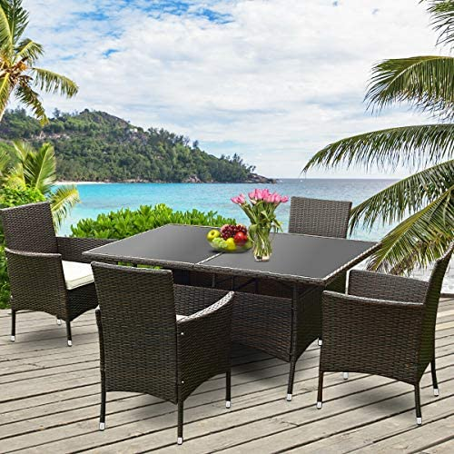 Tangkula Wicker Dining Set 5 Piece Outdoor Patio Furniture Set Wicker Rattan Table and Chairs Set with Cushion for Lawn Backyard Balcony Garden