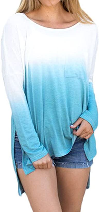 hibote Mujer Blusas Camisa Manga Larga Mujer Camiseta Casual asimétrica Top Cuello Redondo Blusa Suelta Suave y cómodo: Amazon.es: Ropa y accesorios