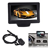 GBSELL 4.3Inch Car TFT LCD Monitor Mirror + Reverse Rear View Backup CMOS Camera,170°View Angle,Waterproof