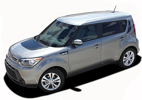 SOUL PATCH 2 : Fits 2014-2016 Kia Soul Hood and Rear Upper Quarter Body Line Accent Style Vinyl Graphic Decal Stripes (Fits ALL MODELS) (Color-3M 5095 Matte Black)