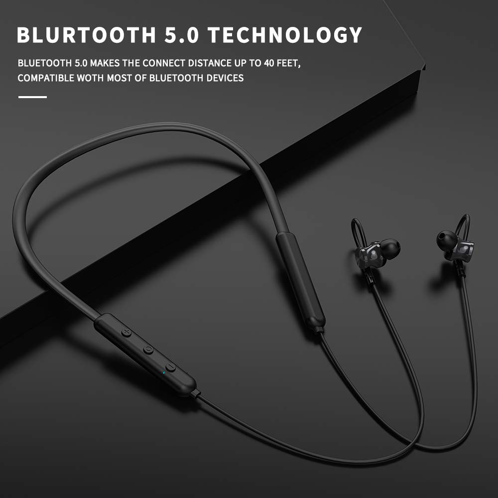 Bluetooth 5.0 Headphones, Wireless Earbuds, GORSUN Lightweight Sport Earbuds Magnetic in-Ear Earphones w Mic, 12Hrs Playback Neckband Stereo Headset Black