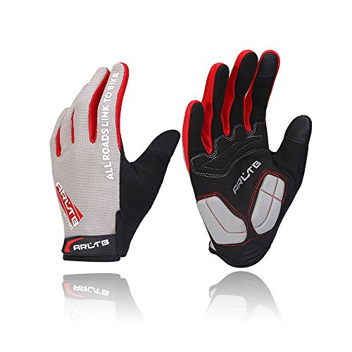 Arltb 3 Size Bike Gloves 3 Colors Bicycle Cycling Biking Gloves Mitts Full Finger Pad Breathable Lightweight Bike Riding Mountain Bike Motorcycle Free Cycle BMX Lifting Fitness Climbing ()