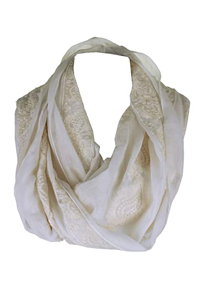 a13a48245 INC Womens Floral Prints Embroidered Loop Scarf White O/S at Amazon Women's  Clothing store: