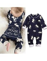 Toddler Infant Baby Girl Boy Long Sleeve Deer Romper...