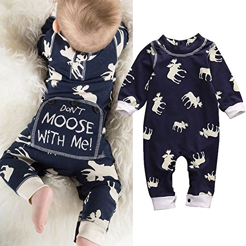 Toddler Infant Baby Girl Boy Long Sleeve Deer Romper Jumpsuit Pajamas XMAS Outfit Navy 3-6Months