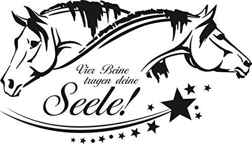Wandtattoo Tiere Sprüche Pferd für Wohnzimmer Vier Beine tragen deine Seele (100x57cm//070 schwarz)