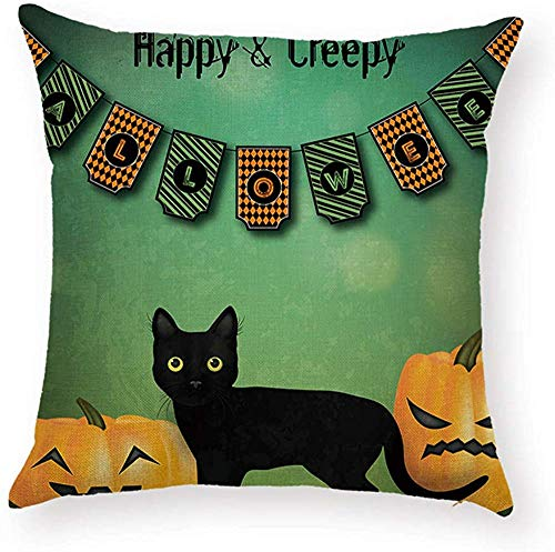 Fhdang Decor Lovely Fashion Funny Flag Sayings Happy Halloween Pillowcase Pumpkins Black Cat Decorative Pillow Covers Waist Back Cushion Case Protector 18 x 18 inch Square
