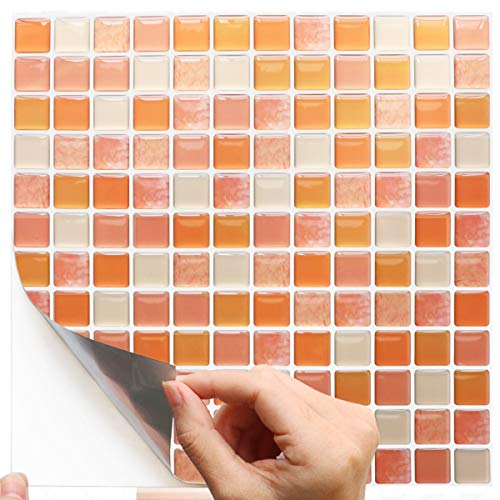 "Yoillione Mosaic Wallpaper 9.29"" x 9.29"" Sticky Mosaic Tile Backsplash for Wall Decor, Set of 4 PCS, Orange"