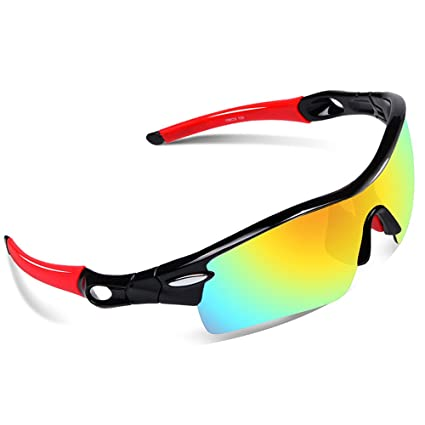 2ab9885c527 Ewin E02 Polarized Sports Sunglasses with 5 Interchangeable Lenses for Men  Women Golf Baseball Volleyball Fishing