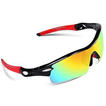 EWIN E02 Gafas de Sol de Deporte polarizadas, con 5 Lentes Intercambiables. Gafas para