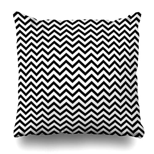 iDecorDesign Throw Pillow Covers White Black Zigzag Lines Jagged Stripes Pattern Sine Triangular Waves Chevrons Fills Abstract Amplitude Home Decor Pillow Case Square Size 16 x 16 Inches Pillowcase