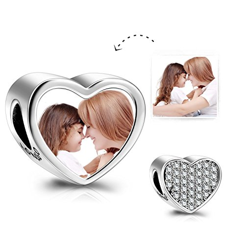 (LONAGO Customized and Personalized Photo Charms Sterling Silver Heart Shaped Charm Beads (Shine Heart))
