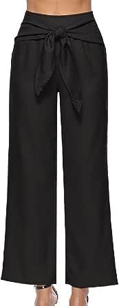 DressUWomen Tiras sólido de alta cintura clásicos pantalónes rectos ocasionales salvajes para Mujers